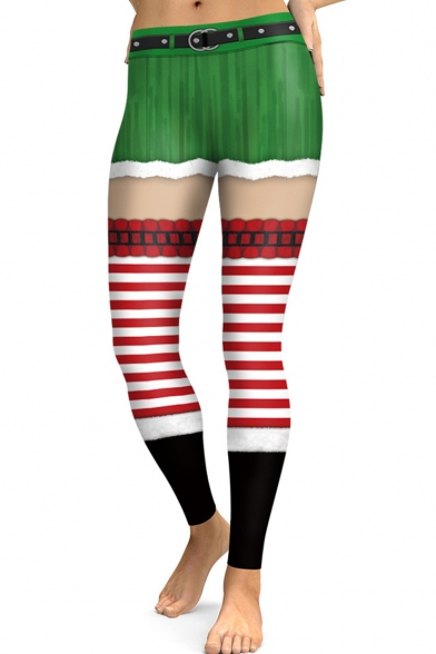 Fashion Red and Green Striped Pattern High Rise Yoga Leggings