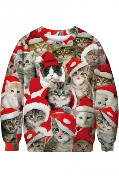 Hot Fashion 3D Red Christmas Cat Pattern Long Sleeve Round Neck Sweatshirt