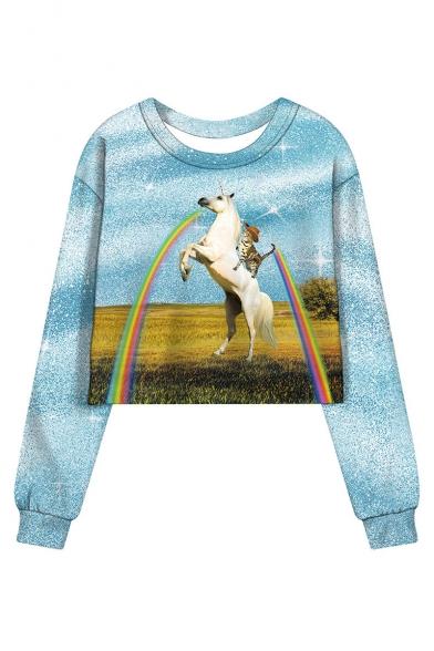 Rainbow Cat Unicorn Pattern Round Neck Long Sleeve Blue Cropped Sweatshirt