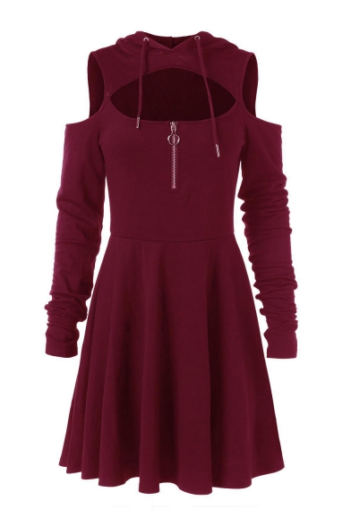 Solid Long Sleeve Open Front Hooded Cold Shoulder Midi A-Line Hoodie Dress
