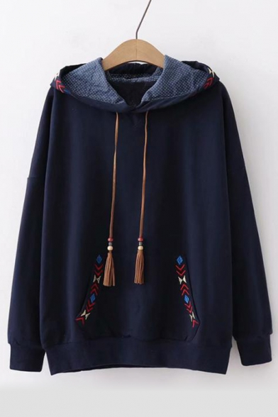 Students Long Sleeve Chic Embroidered Casual Regular Hoodie with Pocket