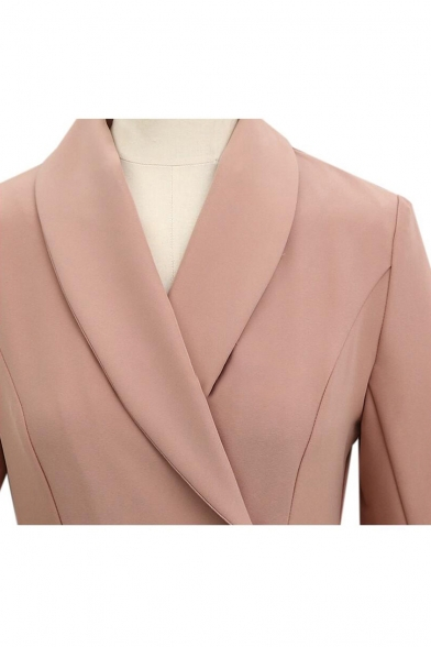 Autumn New Stylish Overlay Front Lapel Collar Long Sleeve Solid Longline Trench Coat