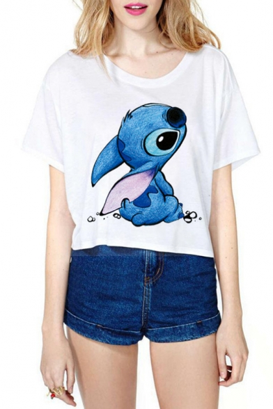 Cartoon LILO AND STITCH Pattern Round Neck Short Sleeve White Cropped T-Shirt
