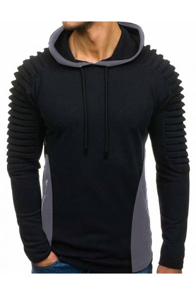 Men's Stylish Pleated Embellished Color Block Slim Fitted Hoodie