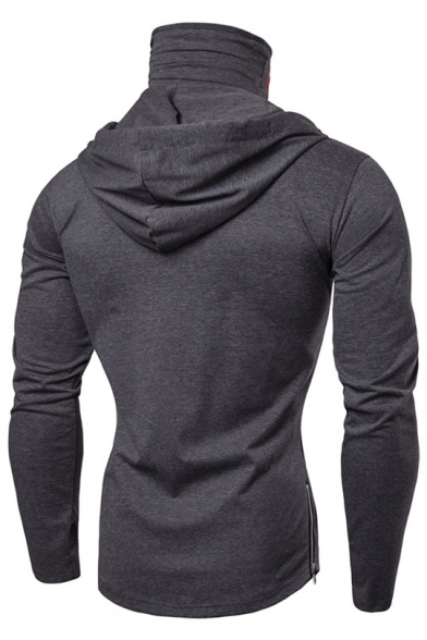 Stylish Skull Printed Stretch Slim Long Sleeve Sports Hoodie for Men