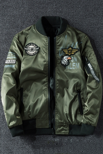 Unique Logo Badge Patched Stand Collar Long Sleeve Zip Up Reversible Bomber Jacket