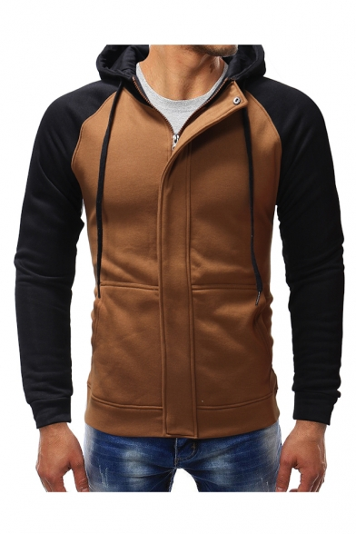 Winter's New Arrival Fashion Color Block Long Sleeve Zip Up Slim Hoodie for Men, Black;camel;dark gray, LC492702