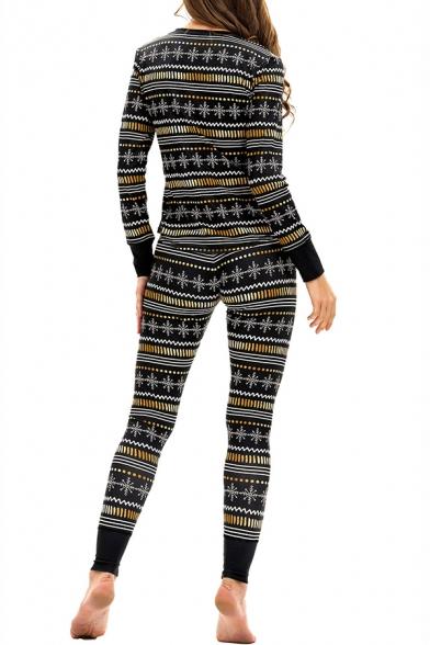 Women's Christmas Snowflake Printed Long Sleeve V Neck Top Casual Pants Sleepwear
