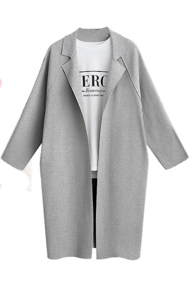Autumn's New Stylish Notched Lapel Collar Long Sleeve Open Front Longline Trench Coat