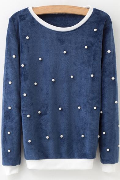 Fancy Color Block Chic Beading Embellished Round Neck Long Sleeve Sweatshirt