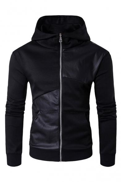 Купить со скидкой Hooded Long Sleeve Trendy PU Patched Slim Fitted Black Zip Up Coat