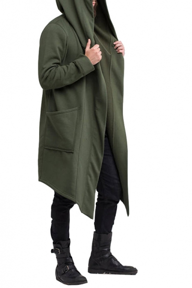 Hot Popular Long Sleeve Plain Hooded Open Front Longline Coat