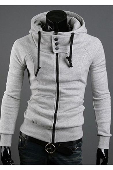 Men's Autumn New Stylish Long Sleeve Basic Solid Zip Up Slim Fitted Hoodie