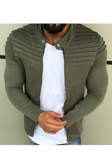 Men's Stand Collar Long Sleeve Simple Solid Zip Up Jacket