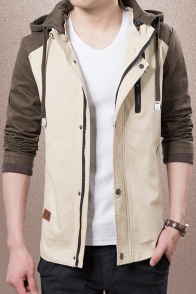Men's Trendy Colorblock Long Sleeve Hooded Zip Up Slim Fitted Jacket