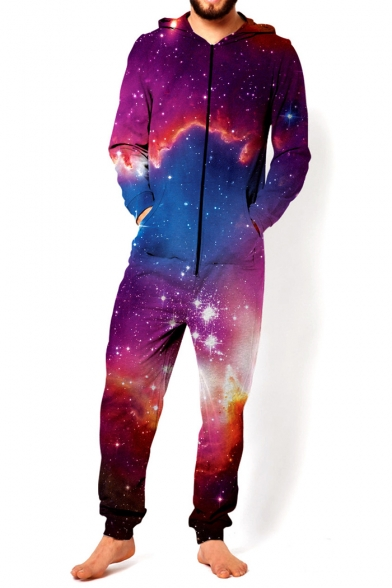 New Trendy 3D Red Galaxy Pattern Long Sleeve Hooded Loose Leisure Jumpsuits