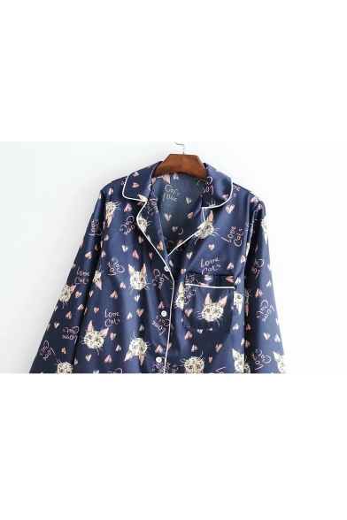 Notched Lapel Collar Long Sleeve Shirt Floral Printed Pajama Co-ords