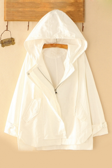 Image of 332264 Autumn's New Arrival Long Sleeve Hooded Basic Solid Zip Up Lightweight Coat