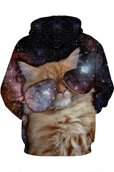 3D Galaxy Glasses Cat Printed Long Sleeve Leisure Hoodie with Pocket