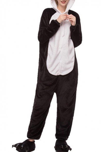 Black and White Panda Carnival Cosplay Onesie Costume Fleece Pajamas