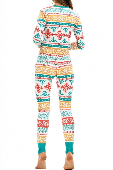 Christmas Snowflake Printed V Neck Long Sleeve Top Sleepwear for Women
