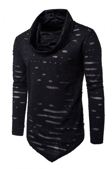 Hip Hop Style Ripped Detail Cowl Neck Long Sleeve Asymmetric Hem Slim T-Shirt LC493360 фото