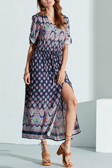 Hot Fashion Bohemian Style Tribal Printed Maxi Beach Dress for Holiday