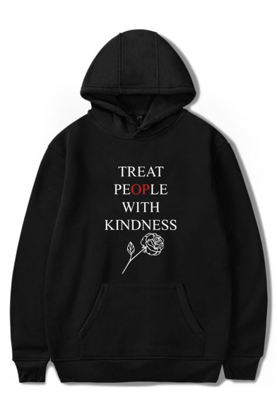Trendy Letter TREAT PEOPLE WITH KINDNESS Rose Printed Long Sleeve Hoodie