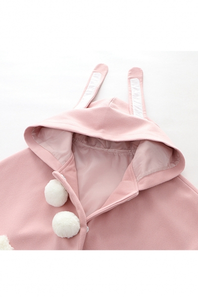 Lovely Rabbit Hoooded Fashion Pom Pom Button Closure Pink Cape Coat for Girls