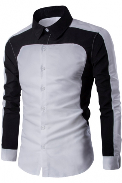 Купить со скидкой Men's Chic Black and White Two-Tone Lapel Collar Long Sleeve Button Front Slim Shirt