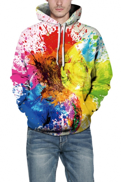 Winter's Unique Abstract Painted Print Long Sleeve Casual Sports Hoodie