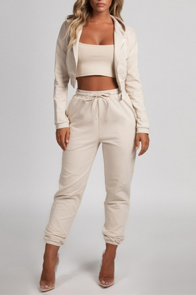 Women's Apricot Cropped Zip Up Hoodie Top Tapered Pants Sports Co-ords
