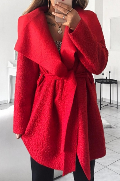 Women's Winter Trendy Long Sleeve Waterfall Collar Longline Wool Coat with Belt Waist
