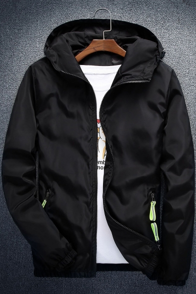 Autumn's Chic Contrast Zip Pocket Long Sleeve Hooded Zip Up Fitted Jacket