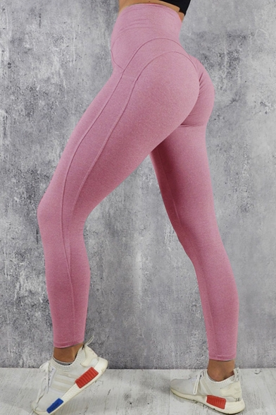 Image of Autumn's New Stylish High Waist Simple Solid Stretch Skinny Yoga Leggings