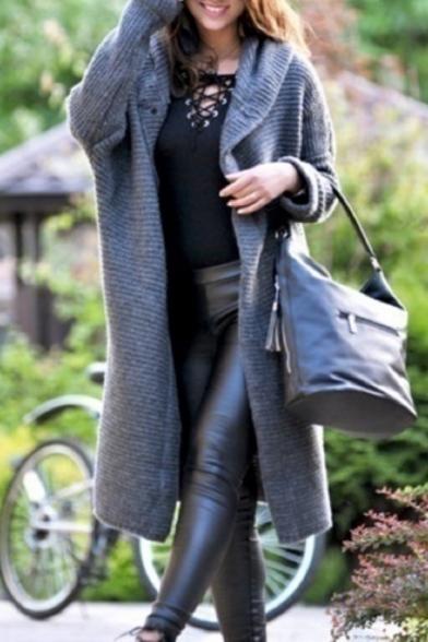 Купить со скидкой Chic Popular Long Sleeve Plain Hooded Single Breasted Longline Cardigan