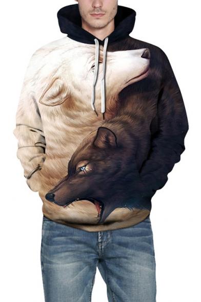 Digital Wolf Pattern Long Sleeve Casual Leisure Unisex Hoodie