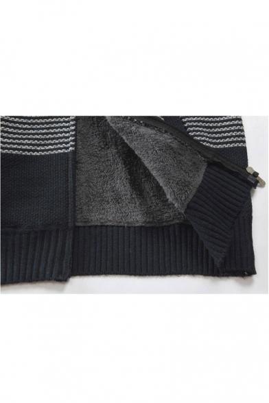 en's Autumn Long Sleeve Hooded Color Block Fitted Zip Up Coat