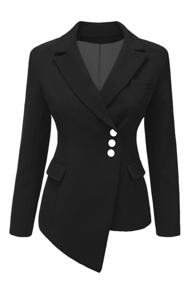 Fashion Notched Lapel Collar Button Front Slim Deconstructed Asymmetrical Blazer