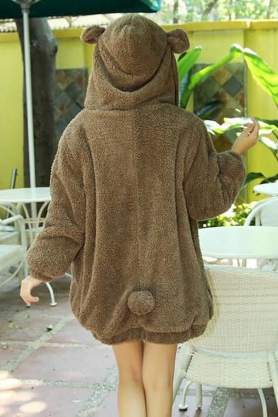 Girls' Lovely Cartoon Rabbit Bear Hood Long Sleeve Solid Fleece Coat