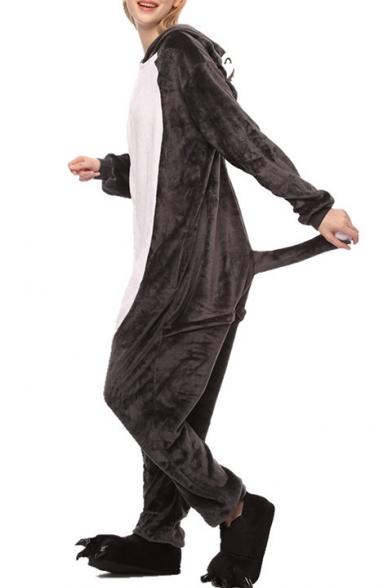 Gray Timber Wolf Cosplay Long Sleeve Carnival Fleece Onesie Pajamas
