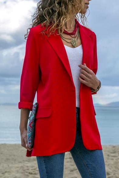 Hot Fashion Long Sleeve Notched Lapel Slim Plain Tunics Blazer Coat