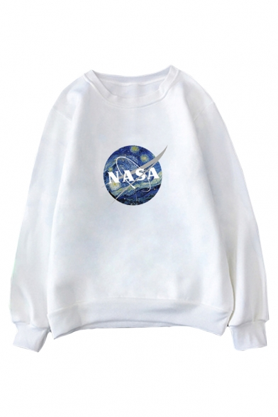 Hot Popular NASA Letter Logo Printed Round Neck Long Sleeve Sweatshirt, LC492457, Pink;red;watermelon;white;apricot;yellow;light gray;khaki;army green;orange red;light purple;purple-red;fluorescent green;sky blue