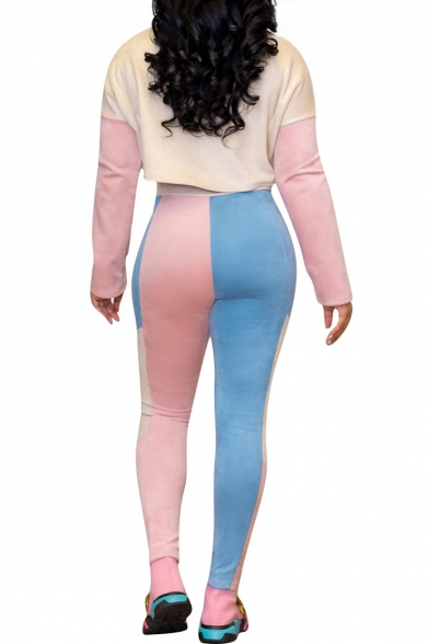 Leisure Long Sleeve Round Neck Colorblock Cropped Top Skinny Pants Casual Co-ords