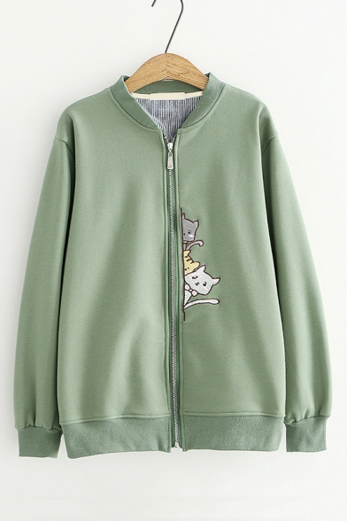 Leisure Long Sleeve Stand Collar Cartoon Cat Embroidered Zip Up Placket Baseball Jacket
