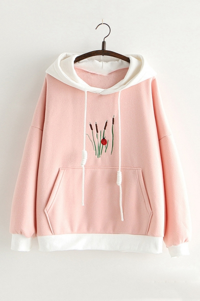 New Arrival Unique Grass Embroidered Long Sleeve Loose Casual Hoodie