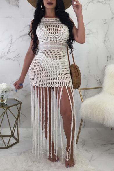 New Stylish Sexy Hollow Out Sleeveless Knit Tassel Hem Bodycon Dress