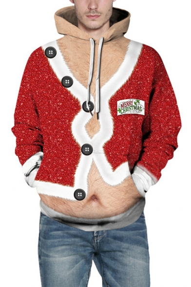 New Trendy 3D Button Down Cardigan Long Sleeve Color Block Red Hoodie