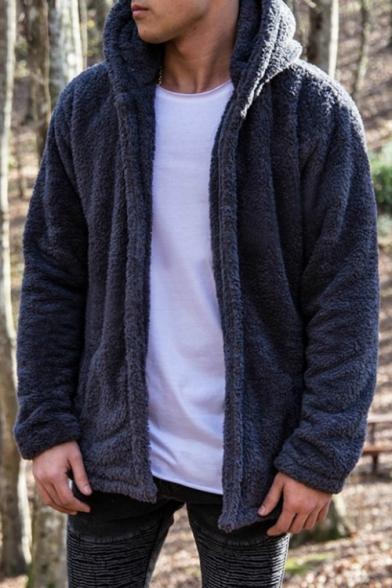 Simple Loose Long Sleeve Plain Zip Placket Hooded Fleece Coat for Men