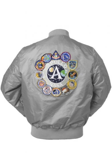 Trendy Logo Patched Long Sleeve Stand Collar Zip Up Bomber Jacket for Juniors